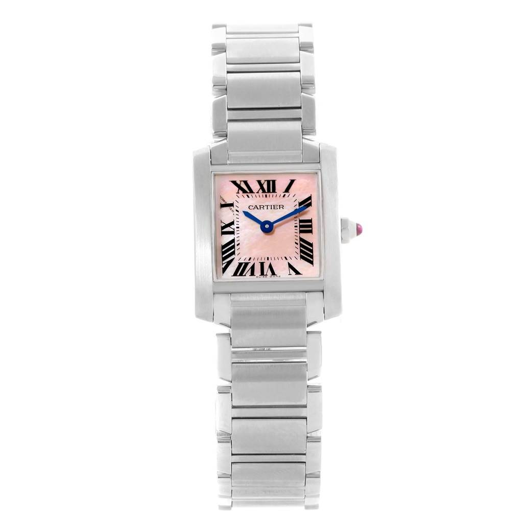 14377 Cartier Tank Francaise Pink Mother of Pearl Dial Ladies Watch W51028Q3 SwissWatchExpo