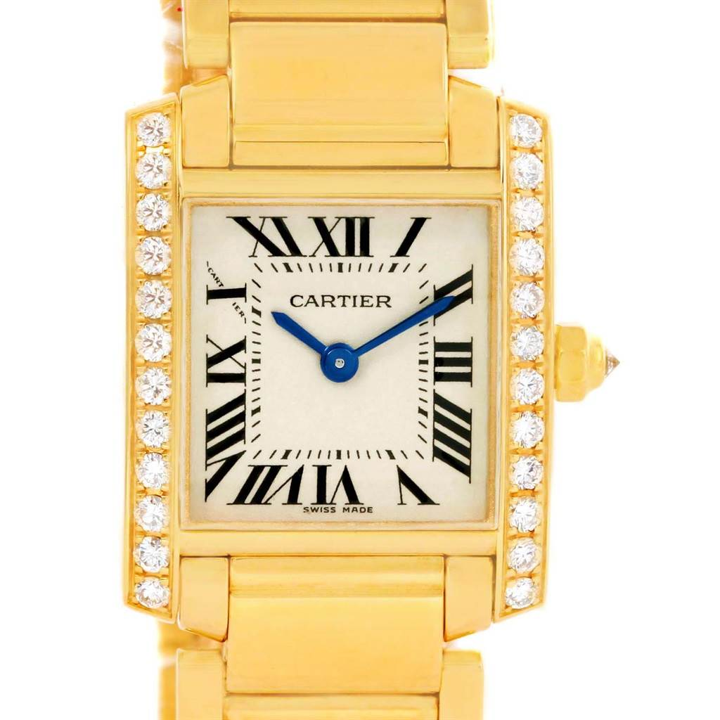 14445 Cartier Tank Francaise Small 18K Yellow Gold Diamond Watch WE1001R8 SwissWatchExpo