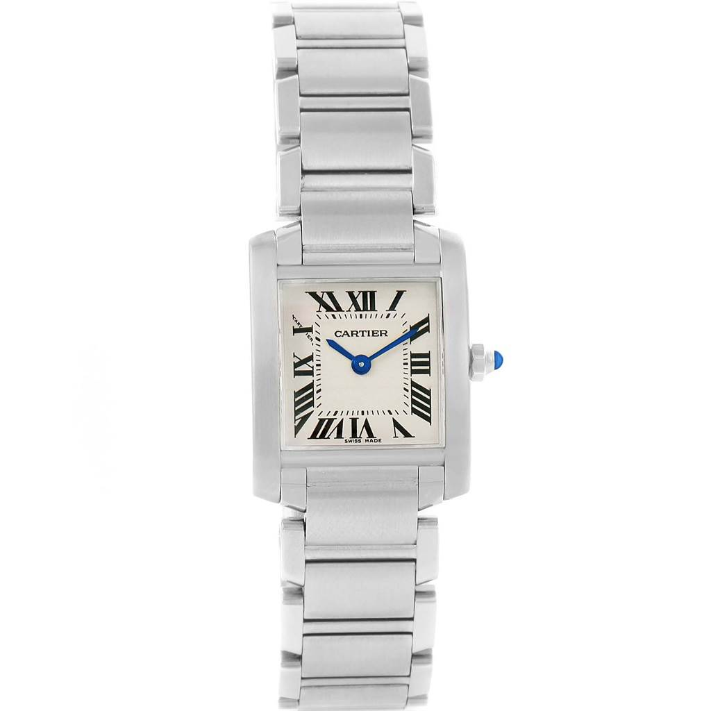 14579 Cartier Tank Francaise Silver Dial Steel Ladies Watch W51008Q3 SwissWatchExpo
