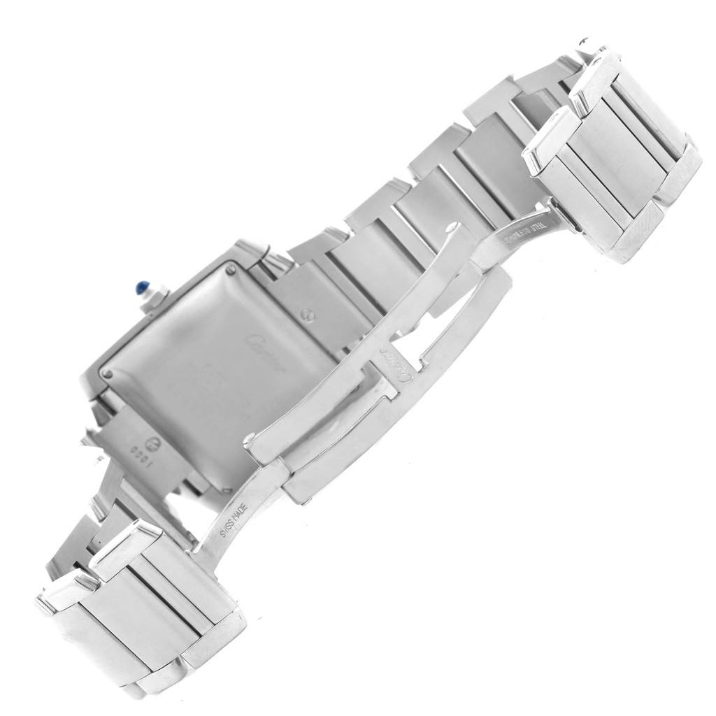 Cartier Tank Francaise Silver Guilloche Dial Mens Watch W51002Q3 SwissWatchExpo