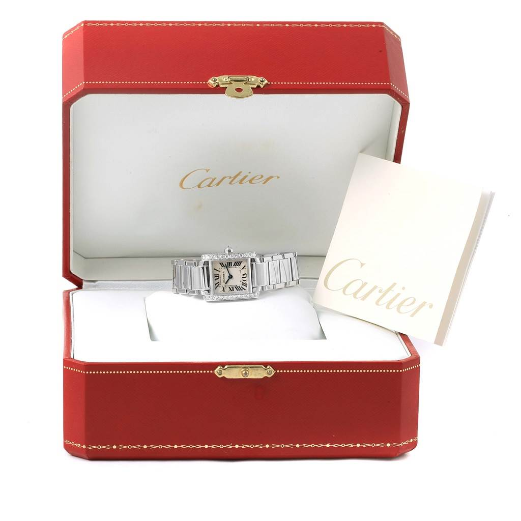 16234 Cartier Tank Francaise Small White Gold Diamond Ladies Watch WE1002S3 SwissWatchExpo