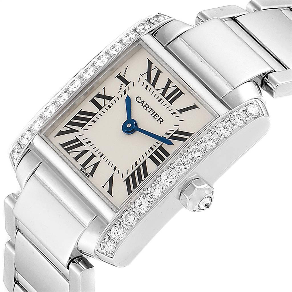 16234 Cartier Tank Francaise White Gold Diamond Ladies Watch WE1002S3 SwissWatchExpo
