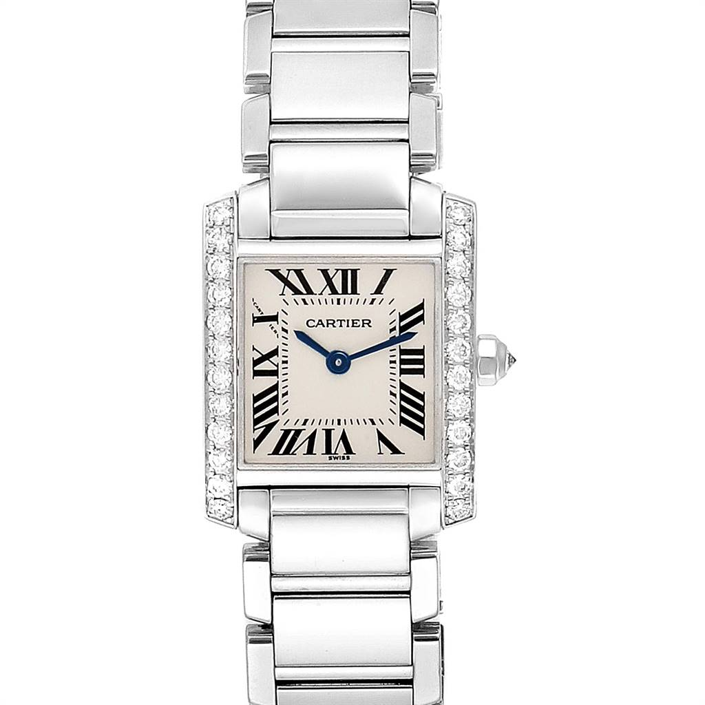 Photo of Cartier Tank Francaise White Gold Diamond Ladies Watch WE1002S3
