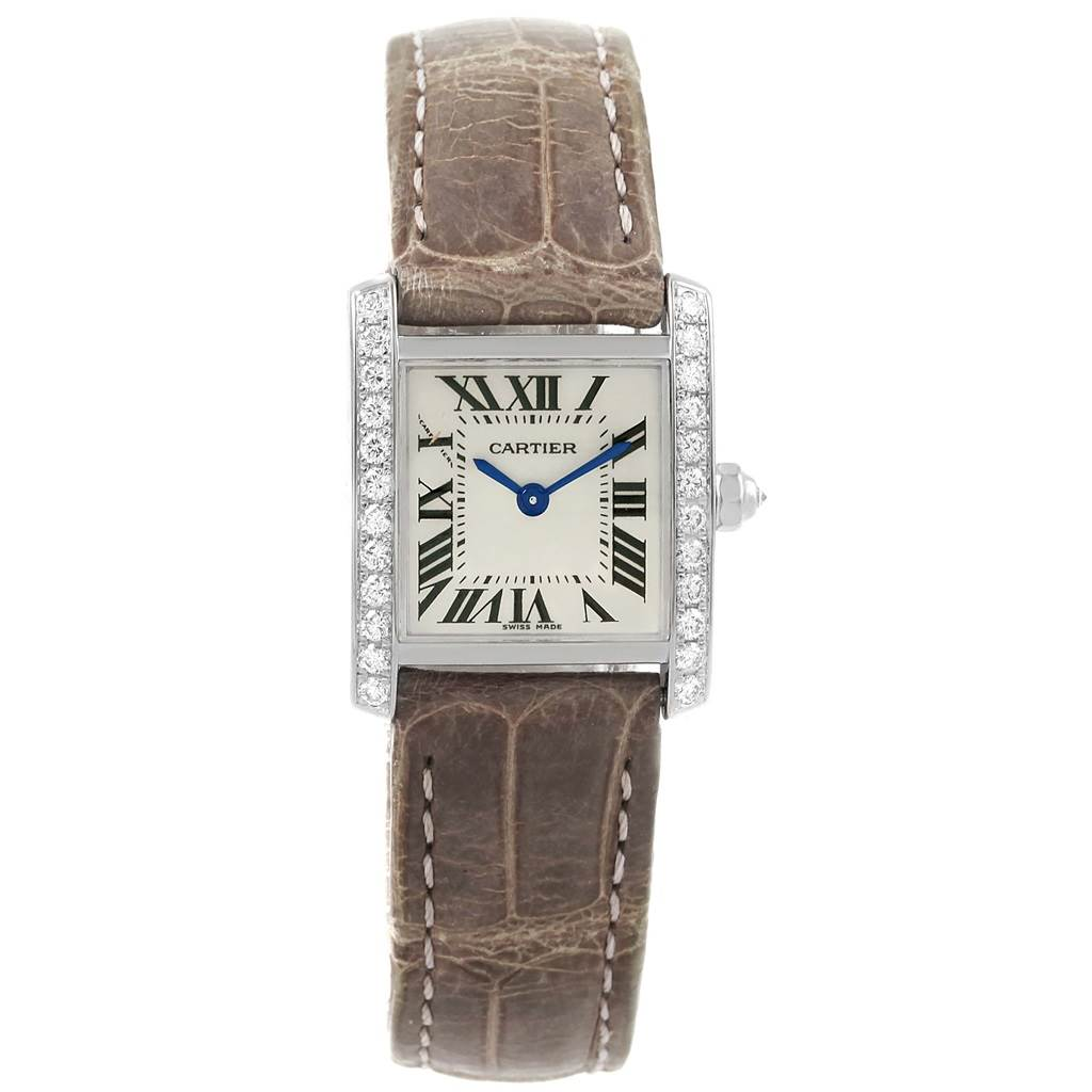 17175 Cartier Tank Francaise White Gold Diamond Ladies Watch WE100231 Box Papers SwissWatchExpo