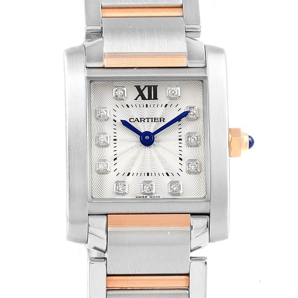 ... 17227 Cartier Tank Francaise Steel Rose Gold Diamond Ladies Watch  WE110004 Unworn SwissWatchExpo ...