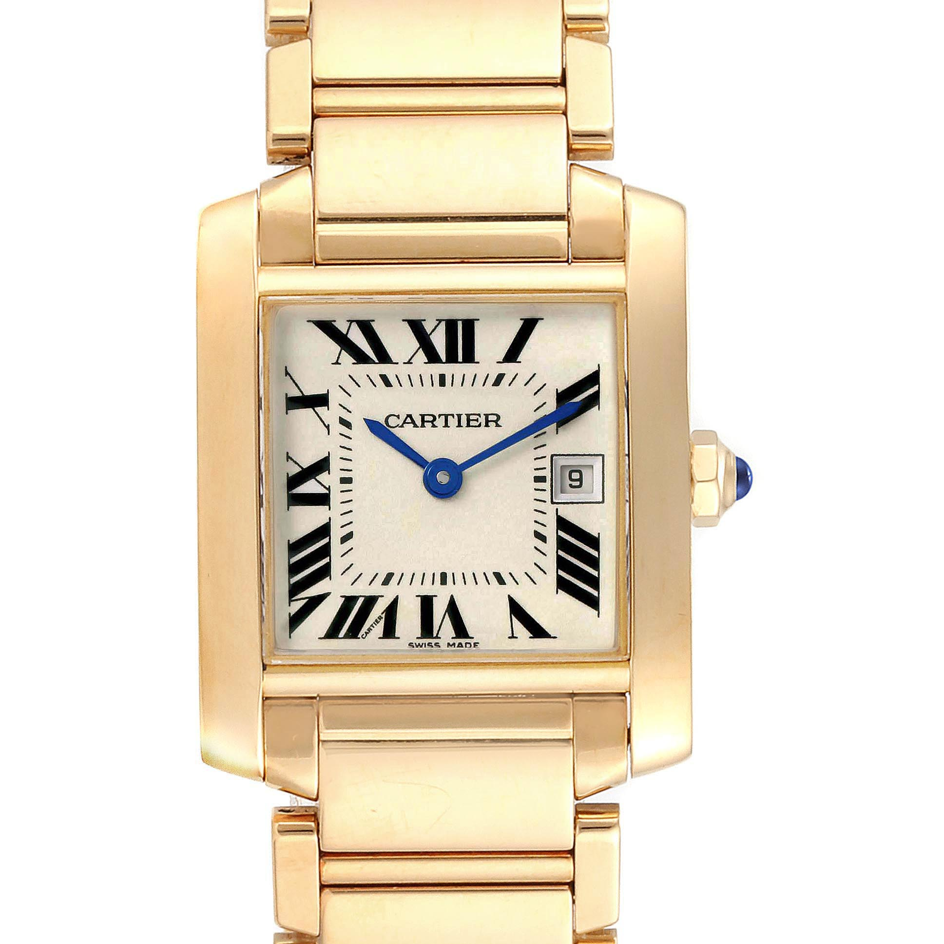 Cartier Tank Francaise Midsize Yellow Gold Ladies Watch W50014N2 Box Papers