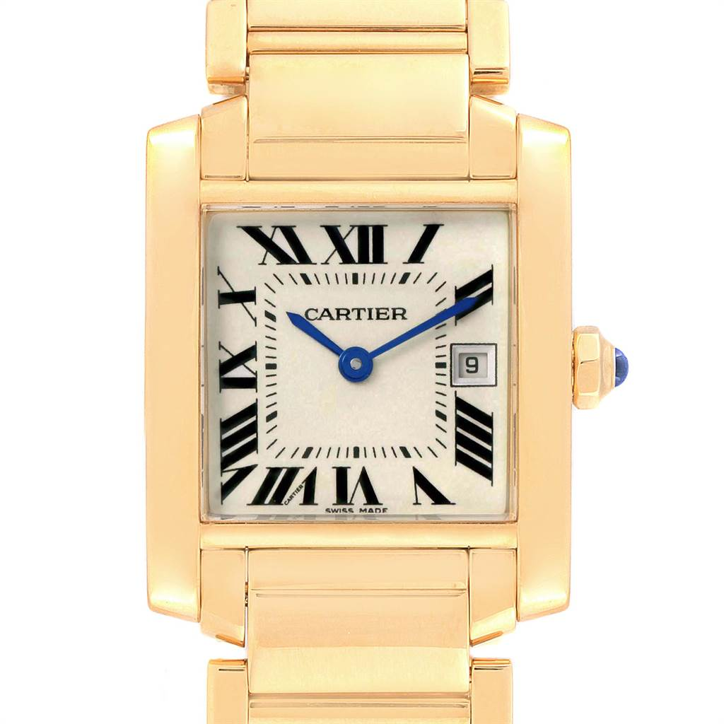 17380 Cartier Tank Francaise Midsize Yellow Gold Ladies Watch W50014N2 Box Papers SwissWatchExpo