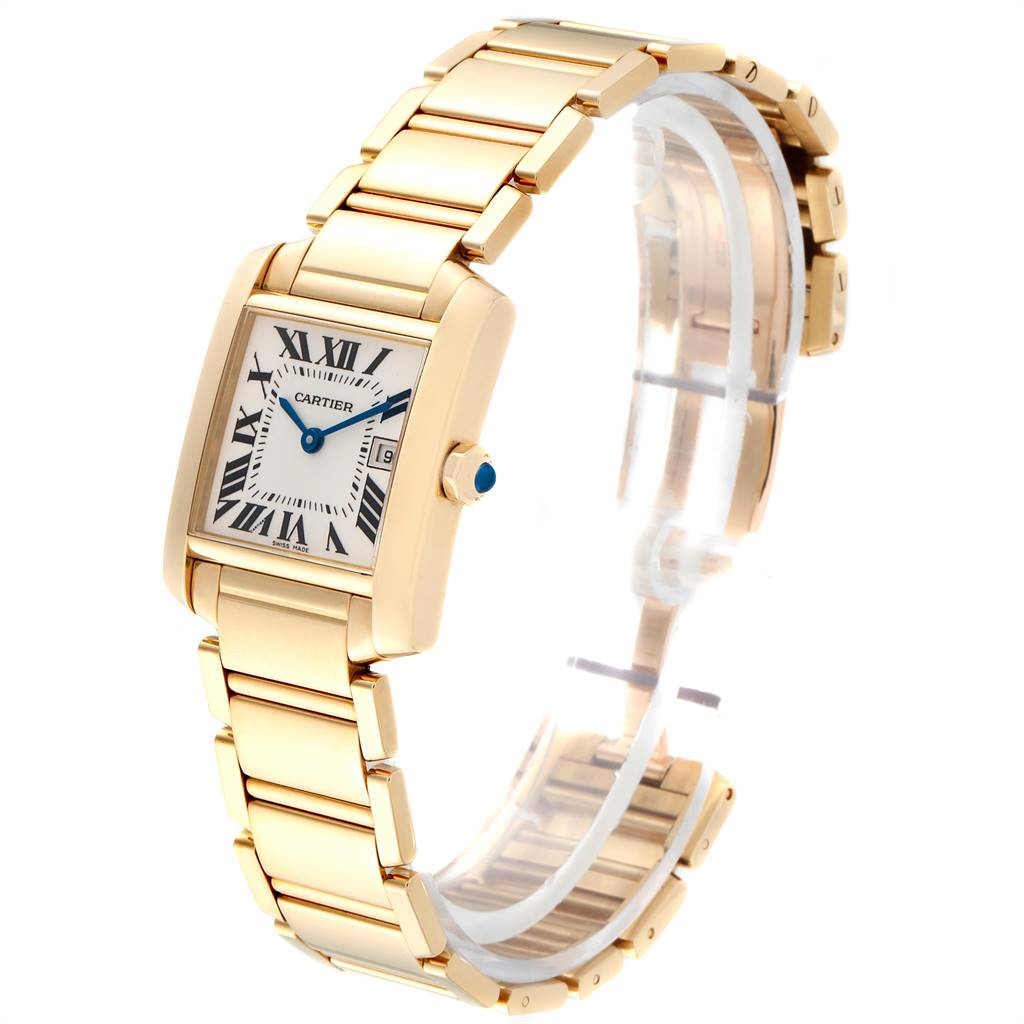 17381 Cartier Tank Francaise Midsize Date Yellow Gold Ladies Watch W50014N2 SwissWatchExpo