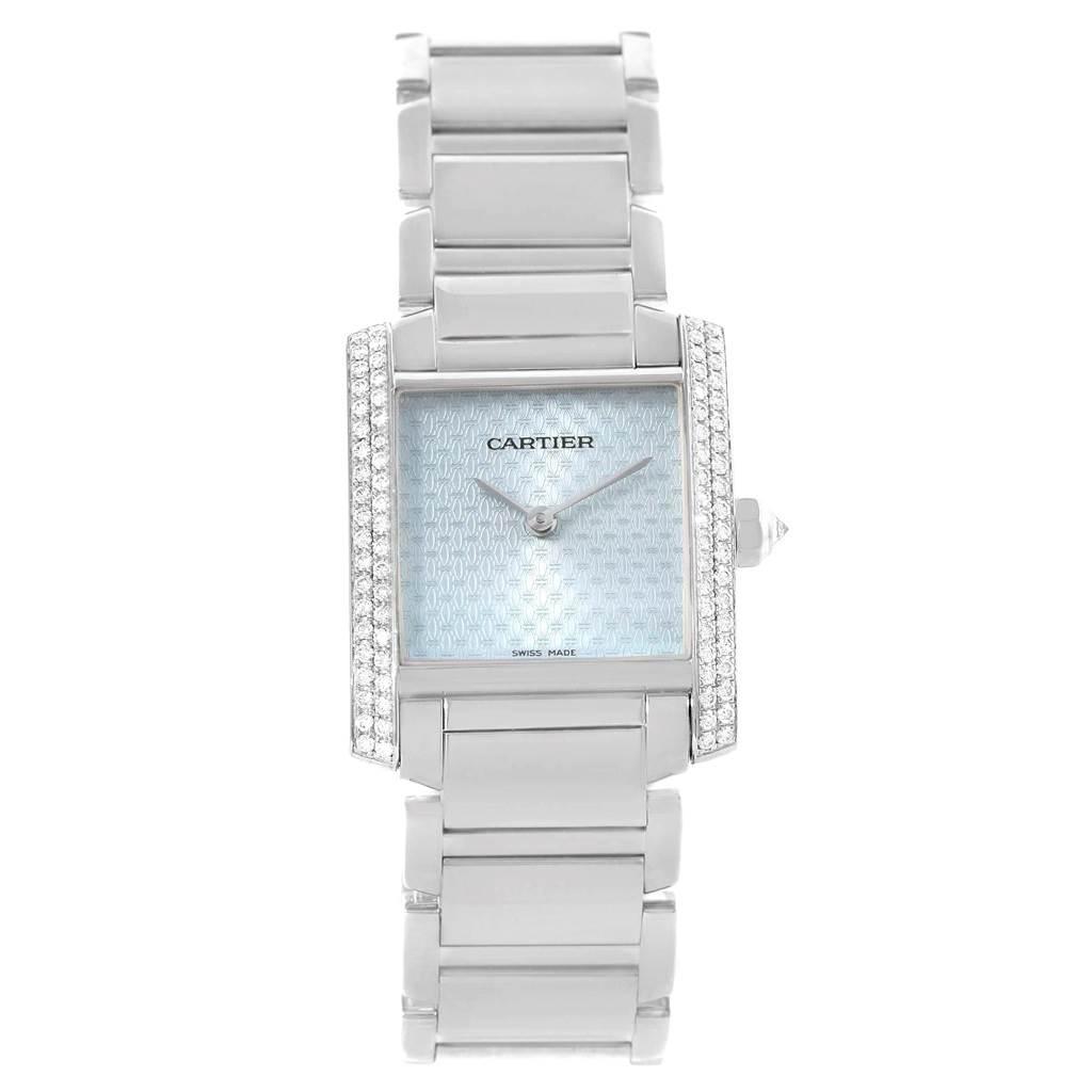 Cartier Tank Francaise Midsize 18K White Gold Diamond Watch WE1020S3 SwissWatchExpo