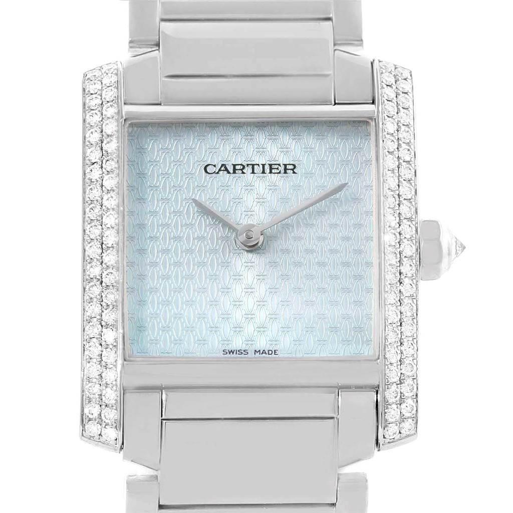 17376 Cartier Tank Francaise Midsize 18K White Gold Diamond Watch WE1020S3 SwissWatchExpo