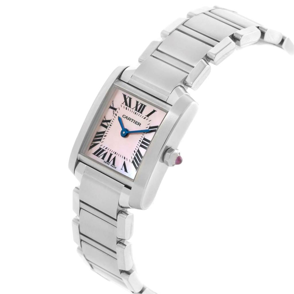 17470 Cartier Tank Francaise Pink MOP Dial Steel Ladies Watch W51028Q3 SwissWatchExpo