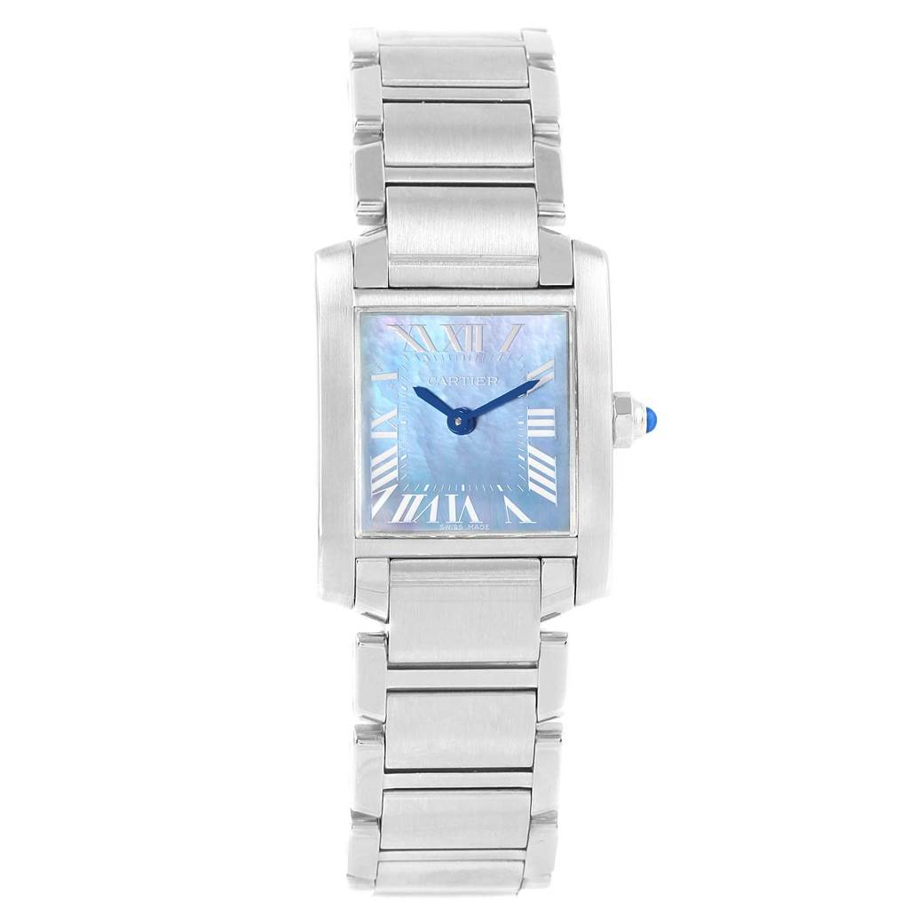 ... 18226 Cartier Tank Francaise Blue Mother of Pearl Dial Ladies Watch  W51034Q3 SwissWatchExpo ...