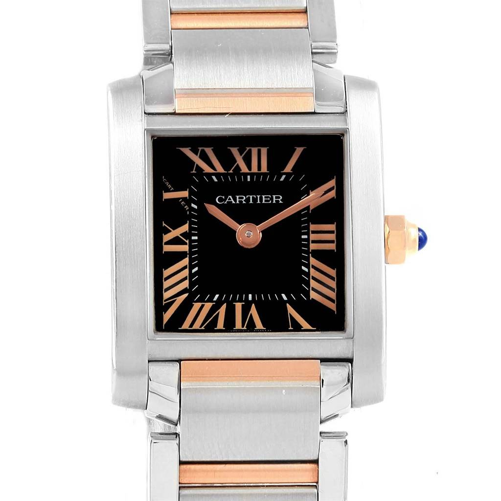 78954dc10b562 19093 Cartier Tank Francaise Steel Rose Gold Black Dial Ladies Watch  W5010001 SwissWatchExpo ...
