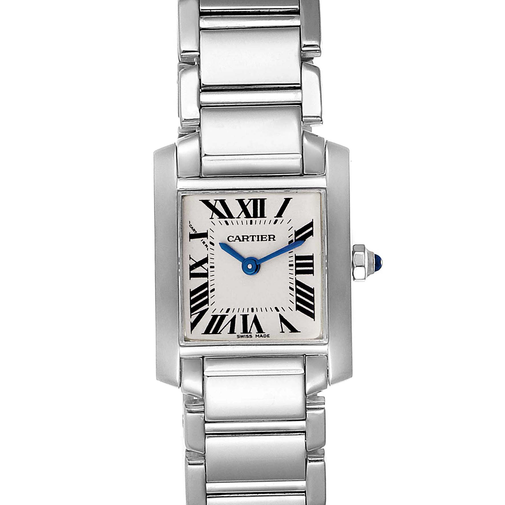 Cartier Tank Francaise White Gold Quartz Ladies Watch W50012S3 SwissWatchExpo