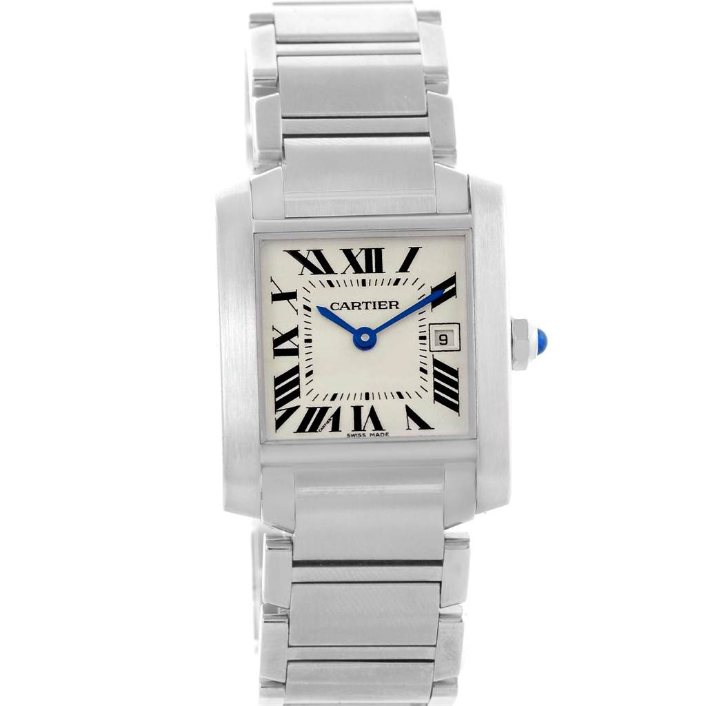 18662x Cartier Tank Francaise Midsize Silver Dial Ladies Watch W51011Q3 SwissWatchExpo