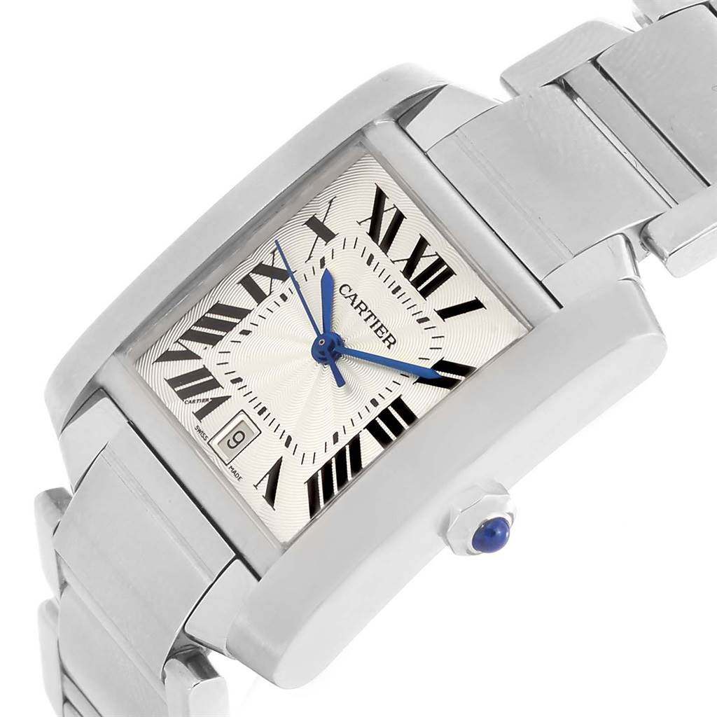 Cartier Tank Francaise Silver Dial Stainless Steel Watch W51002Q3 SwissWatchExpo