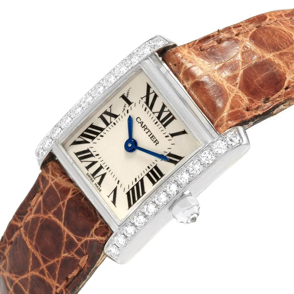 18773 Cartier Tank Francaise 18K White Gold Diamond Ladies Watch WE100231 SwissWatchExpo