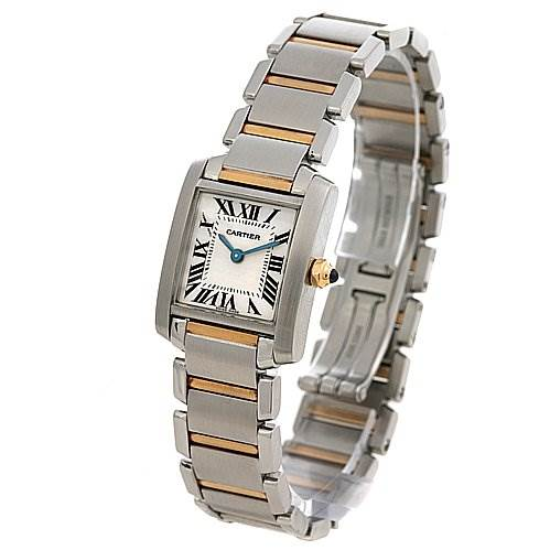2416 Cartier Tank Francaise Small Stainless Steel and 18k Yellow Gold W51007q4 SwissWatchExpo