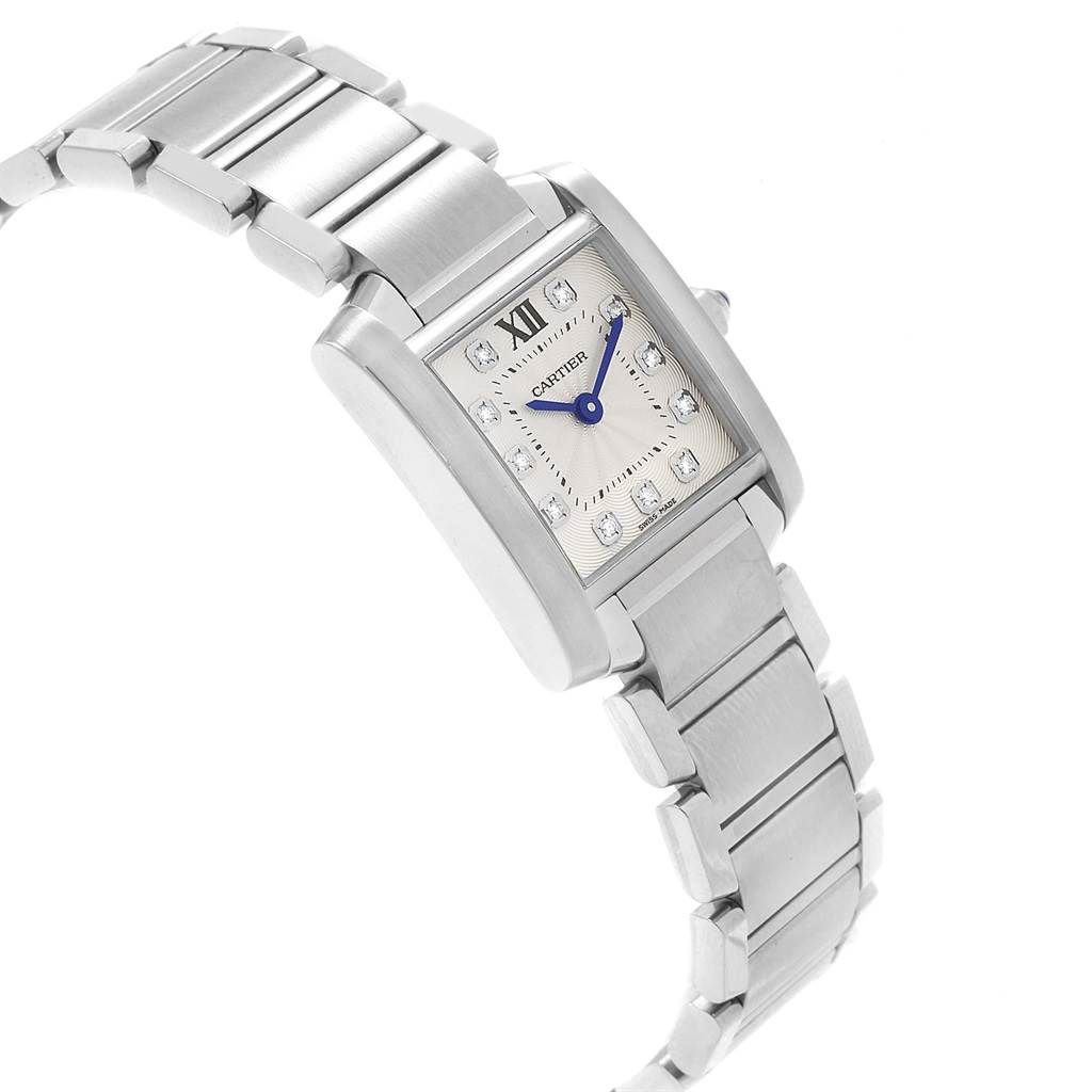new york 0736e b50e0 Cartier Tank Francaise Steel Diamond Small Ladies Watch WE110006