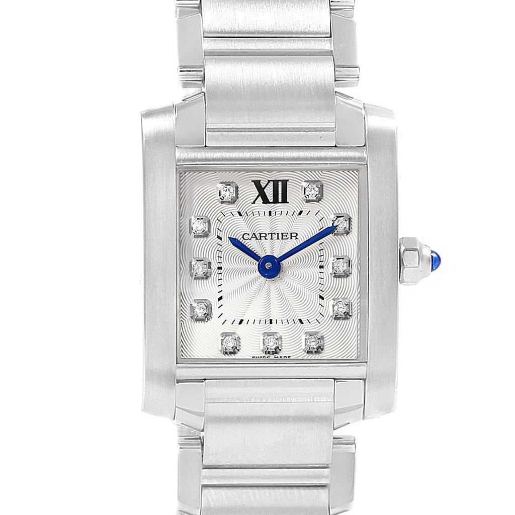 7bcfa9414fa ... 20447 Cartier Tank Francaise Steel Diamond Small Ladies Watch WE110006  SwissWatchExpo ...