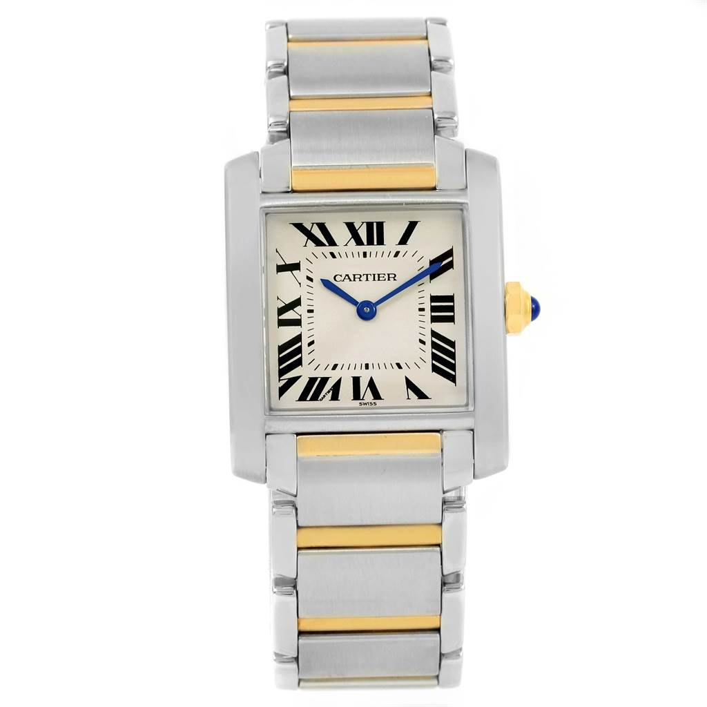 13751S Cartier Tank Francaise Midsize Two Tone Ladies Watch W2TA0003 SwissWatchExpo