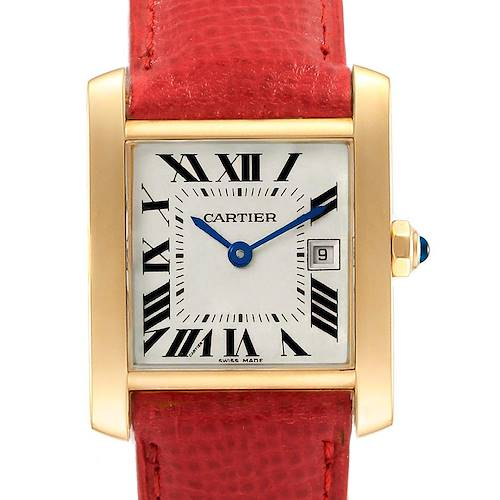 Photo of Cartier Tank Francaise Midsize Yellow Gold Red Strap Watch W50014N2