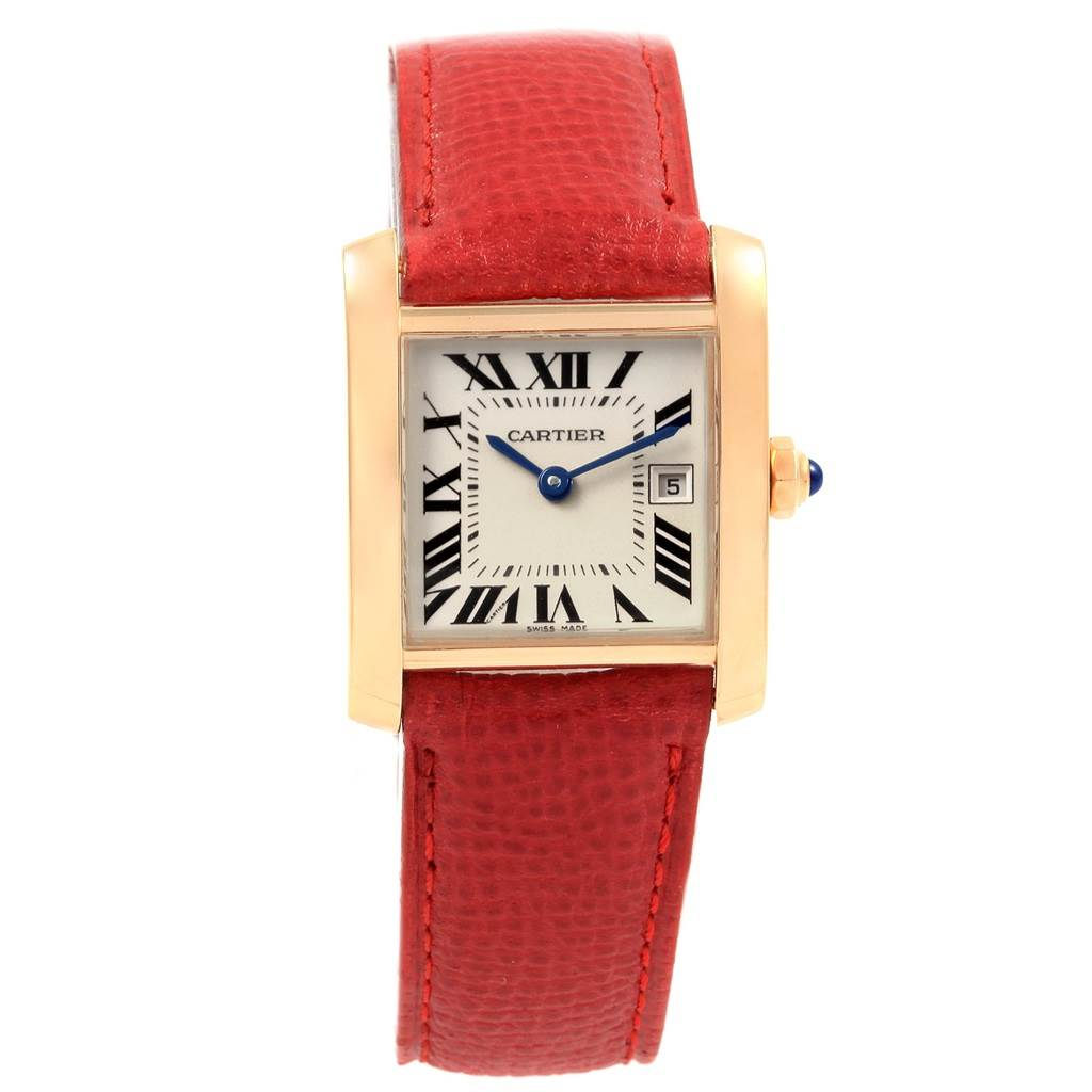 20368 Cartier Tank Francaise Midsize Yellow Gold Red Strap Watch W50014N2 SwissWatchExpo
