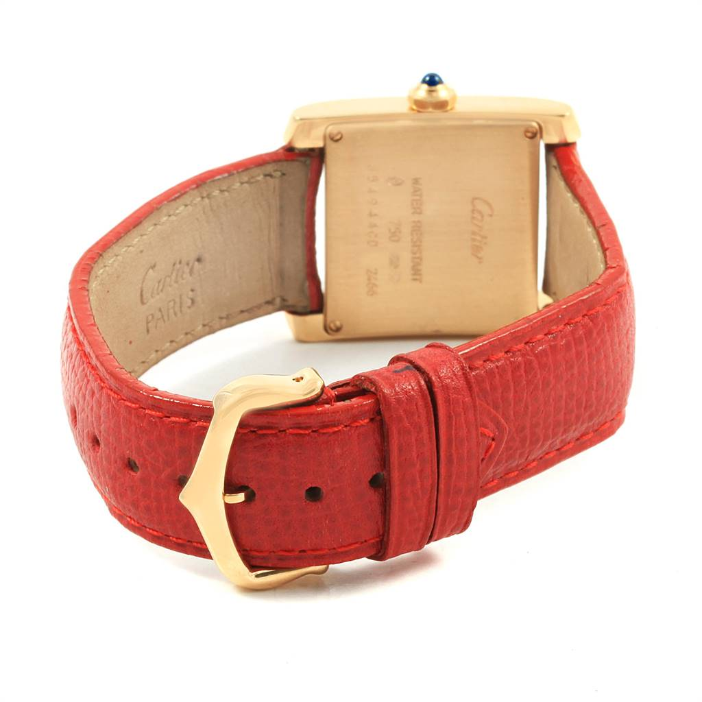 Cartier Tank Francaise Midsize Yellow Gold Red Strap Watch W50014N2 SwissWatchExpo