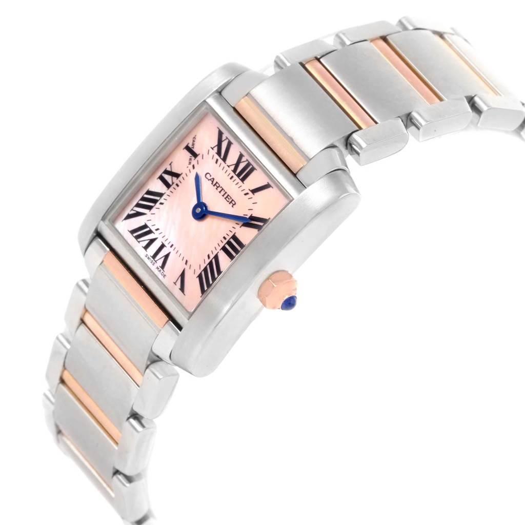 21383 Cartier Tank Francaise Steel 18k Rose Gold MOP Ladies Watch W51027Q4 SwissWatchExpo