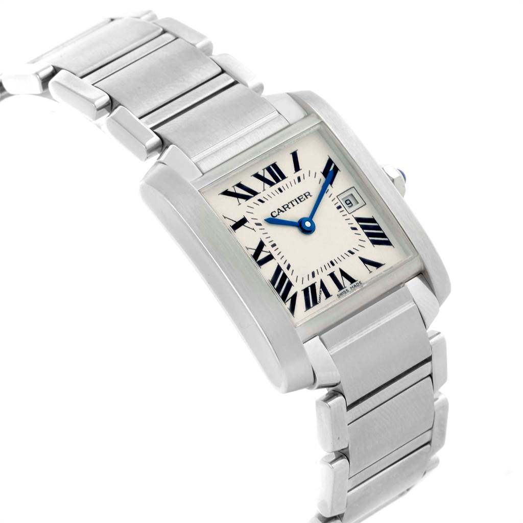 21210 Cartier Tank Francaise Midsize Silver Dial Ladies Watch W51011Q3 SwissWatchExpo