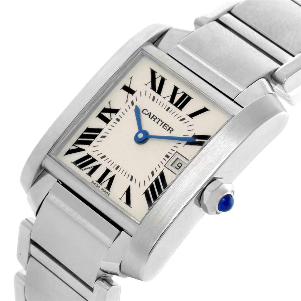 21205 Cartier Tank Francaise Midsize Silver Dial Ladies Watch W51011Q3 Box SwissWatchExpo
