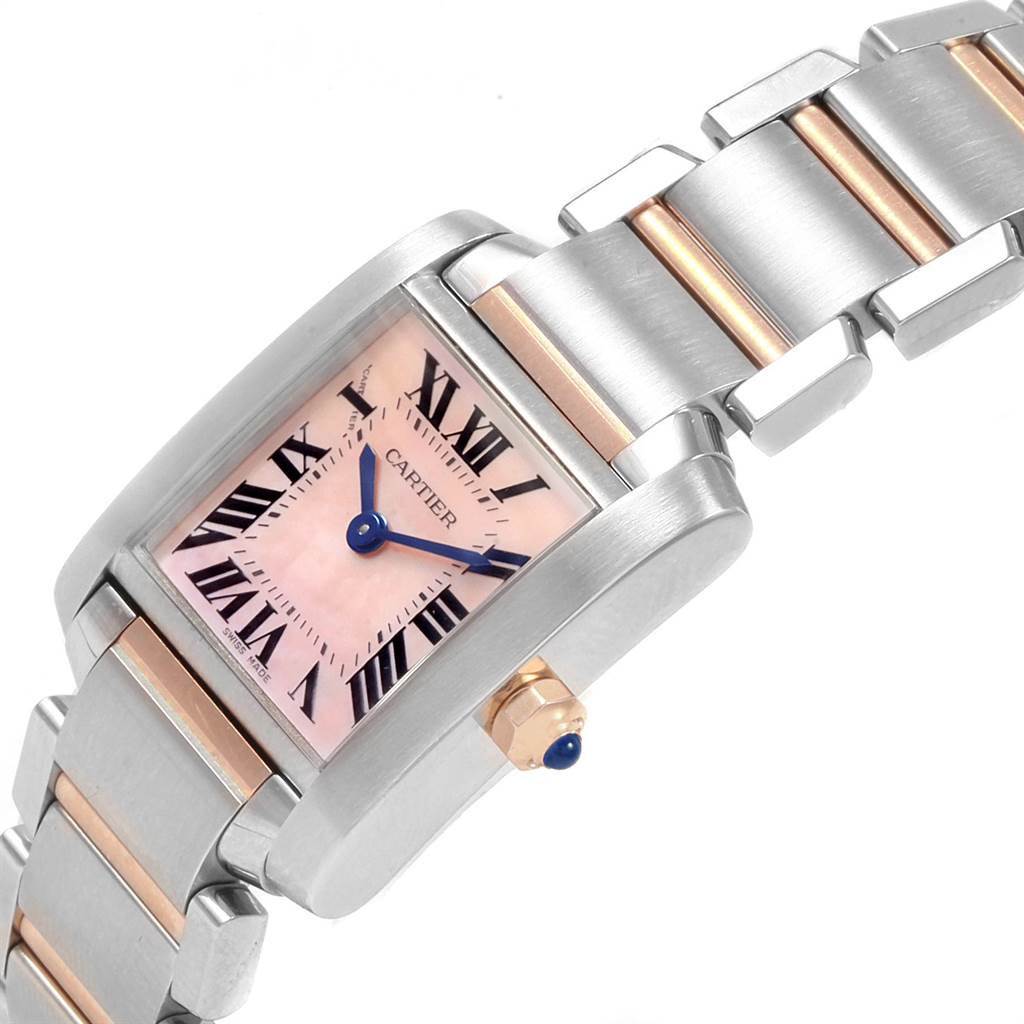 21527 Cartier Tank Francaise Steel Rose Pink Gold MOP Ladies Watch W51027Q4 SwissWatchExpo