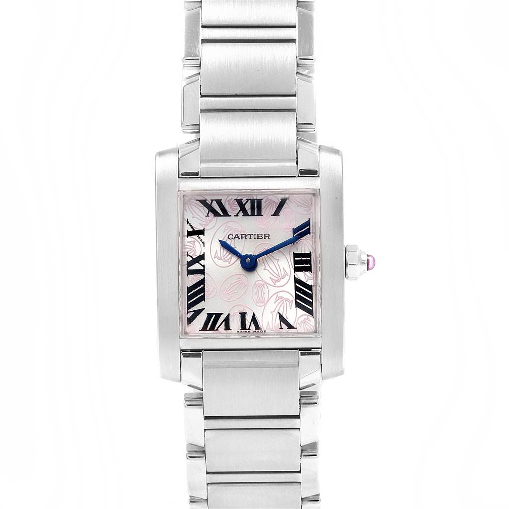 a207e339e7da ... 19855 Cartier Tank Francaise Pink Double C Decor LE Ladies Watch  W51031Q3 SwissWatchExpo ...