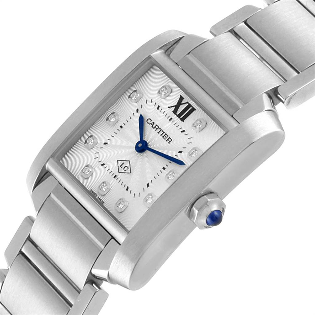 22392 Cartier Tank Francaise Midsize Diamond Ladies Watch WE110007 Box Papers SwissWatchExpo