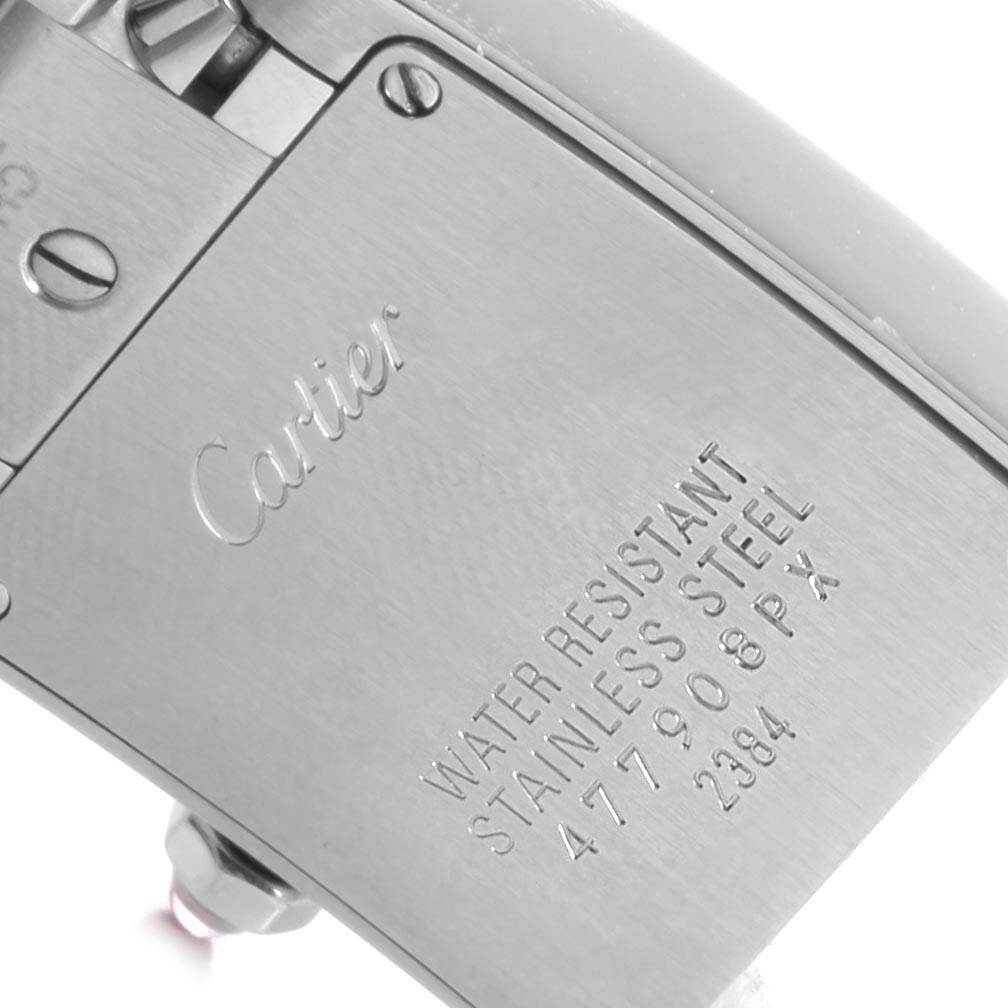 Cartier Tank Francaise Pink Mother of Pearl Steel Ladies Watch W51028Q3 SwissWatchExpo
