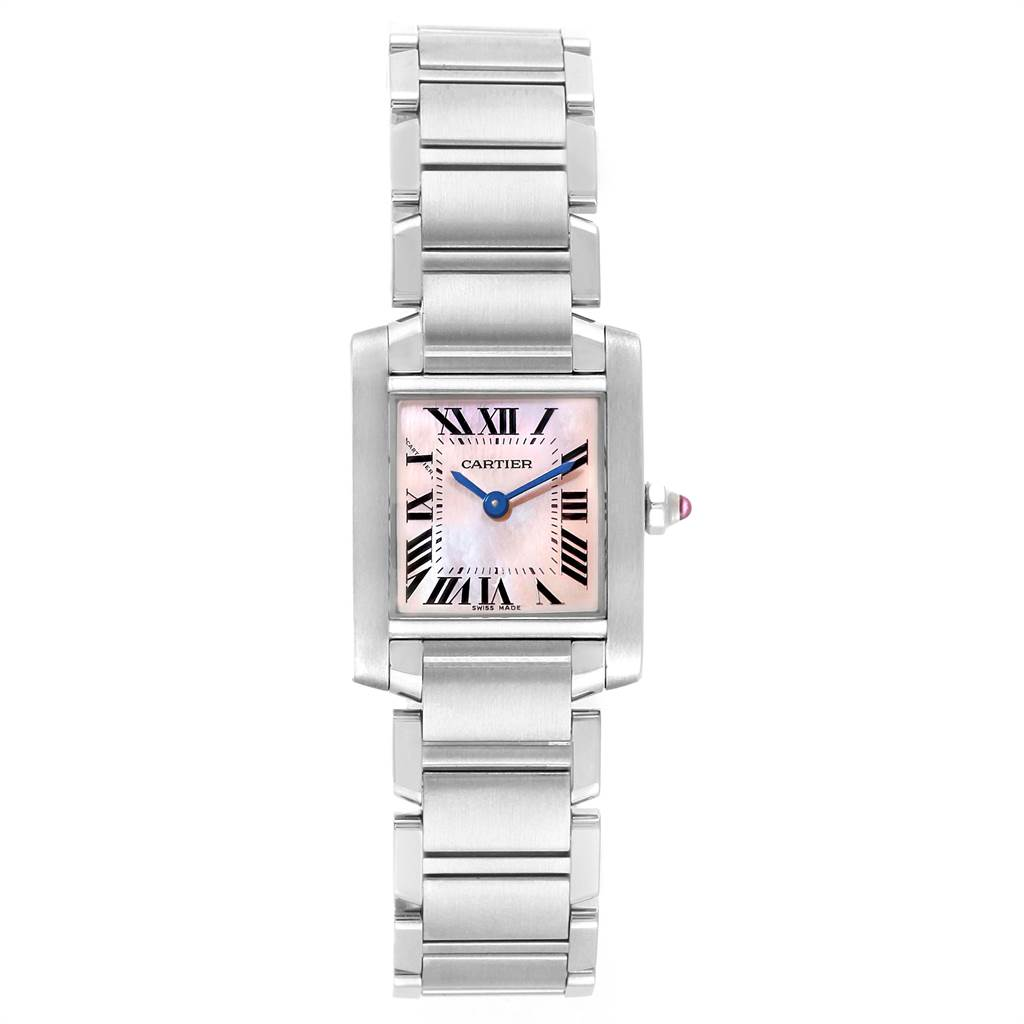 22471 Cartier Tank Francaise Pink Mother of Pearl Steel Ladies Watch W51028Q3 SwissWatchExpo