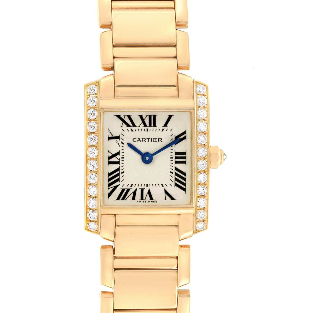 23005 Cartier Tank Francaise Small 18K Yellow Gold Diamond Watch WE1001R8 SwissWatchExpo