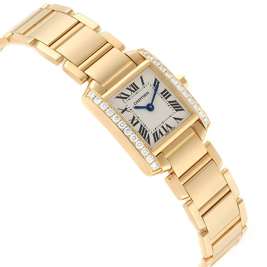 Cartier Tank Francaise Small Yellow Gold Diamond Ladies Watch WE1001R8 SwissWatchExpo