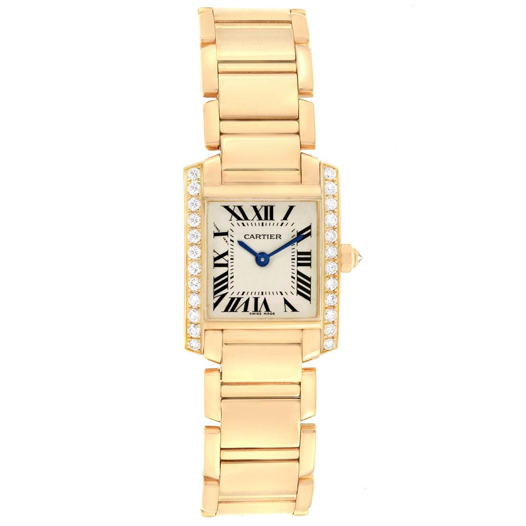 22460 Cartier Tank Francaise 18K Yellow Gold Diamond Ladies Watch WE1001R8 SwissWatchExpo