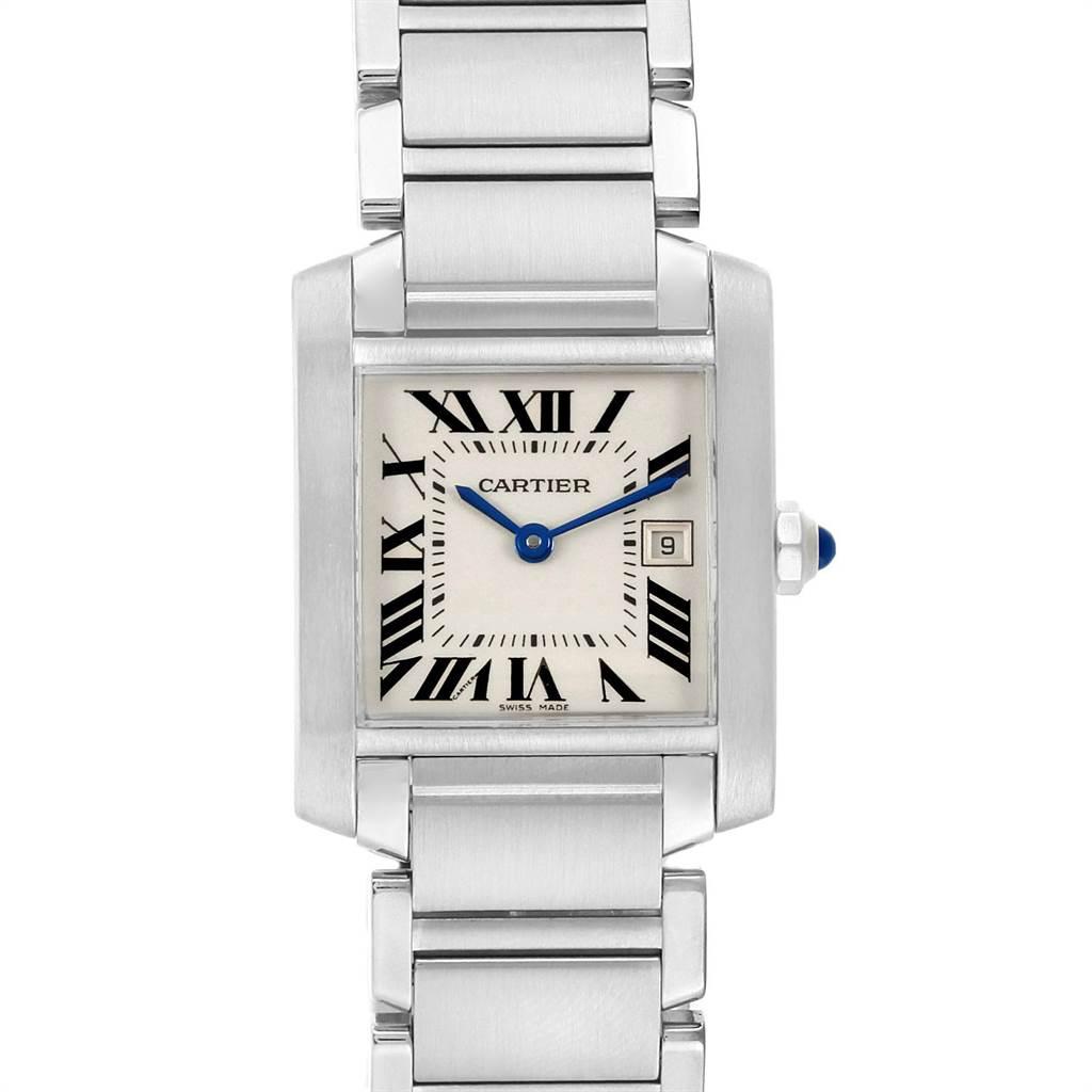 Cartier Tank Francaise Midsize Silver Dial Ladies Watch W51011Q3 SwissWatchExpo