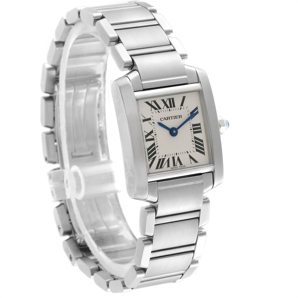 23299 Cartier Tank Francaise Small Silver Dial Steel Ladies Watch W51008Q3 SwissWatchExpo