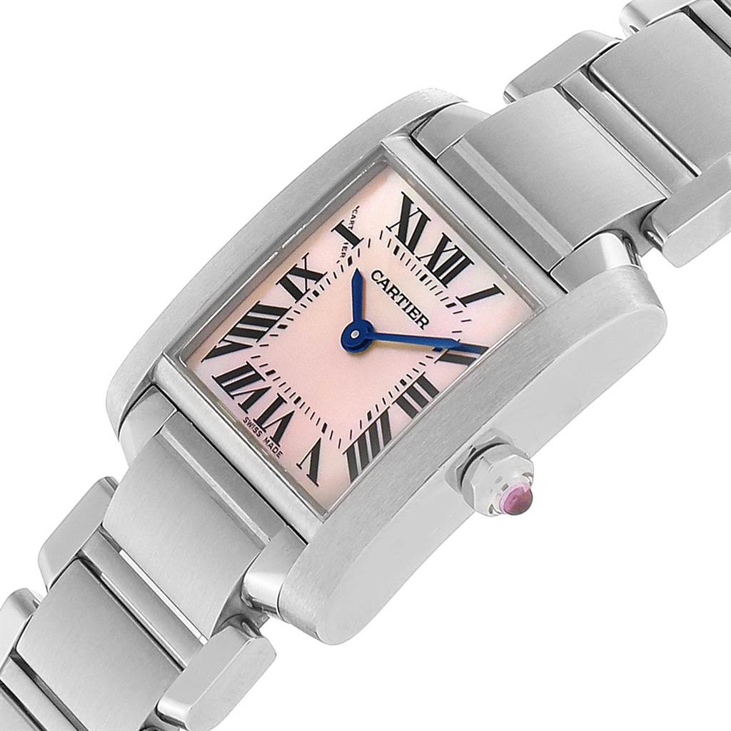 23300 Cartier Tank Francaise Pink Mother of Pearl Steel Ladies Watch W51028Q3 SwissWatchExpo