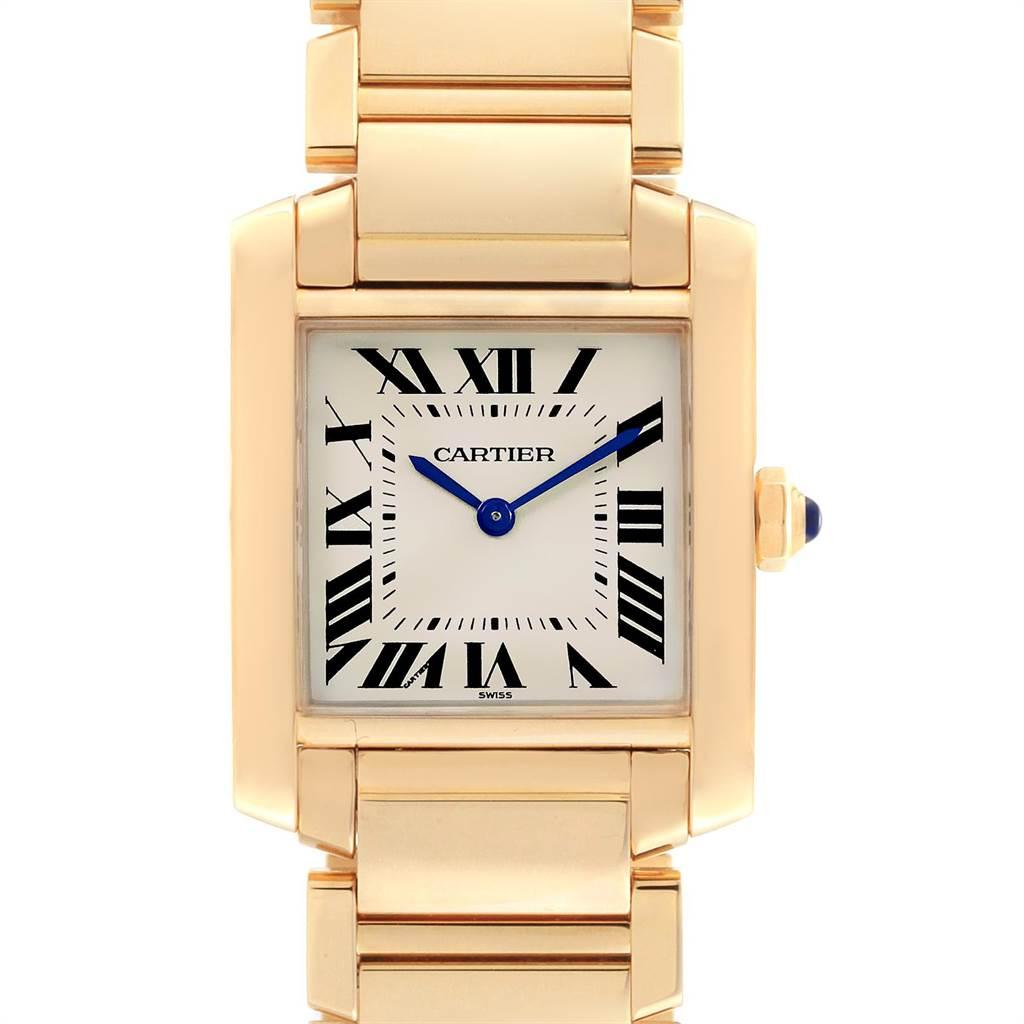 23297 Cartier Tank Francaise Midsize 18K Yellow Gold Ladies Watch W50003N2 SwissWatchExpo
