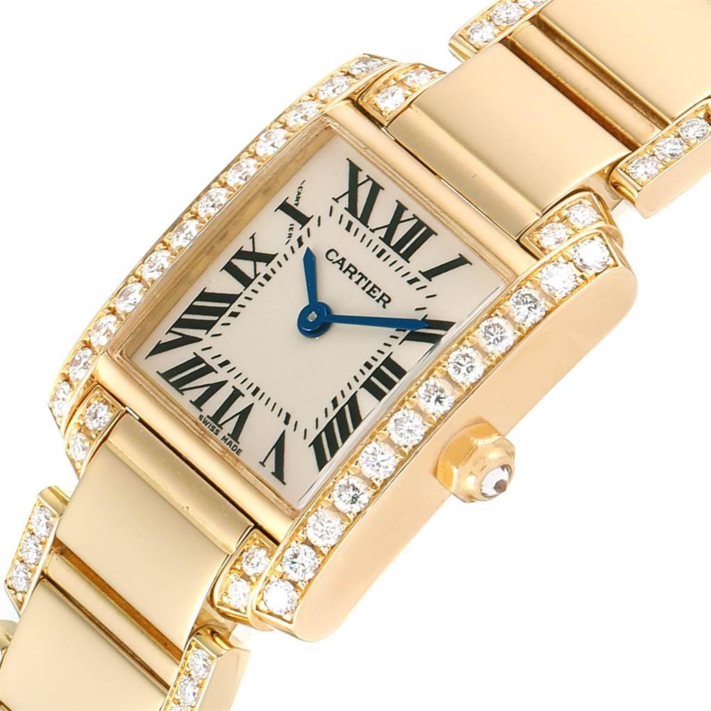 23516 Cartier Tank Francaise 18K Yellow Gold Diamond Ladies Watch WE1001RG SwissWatchExpo
