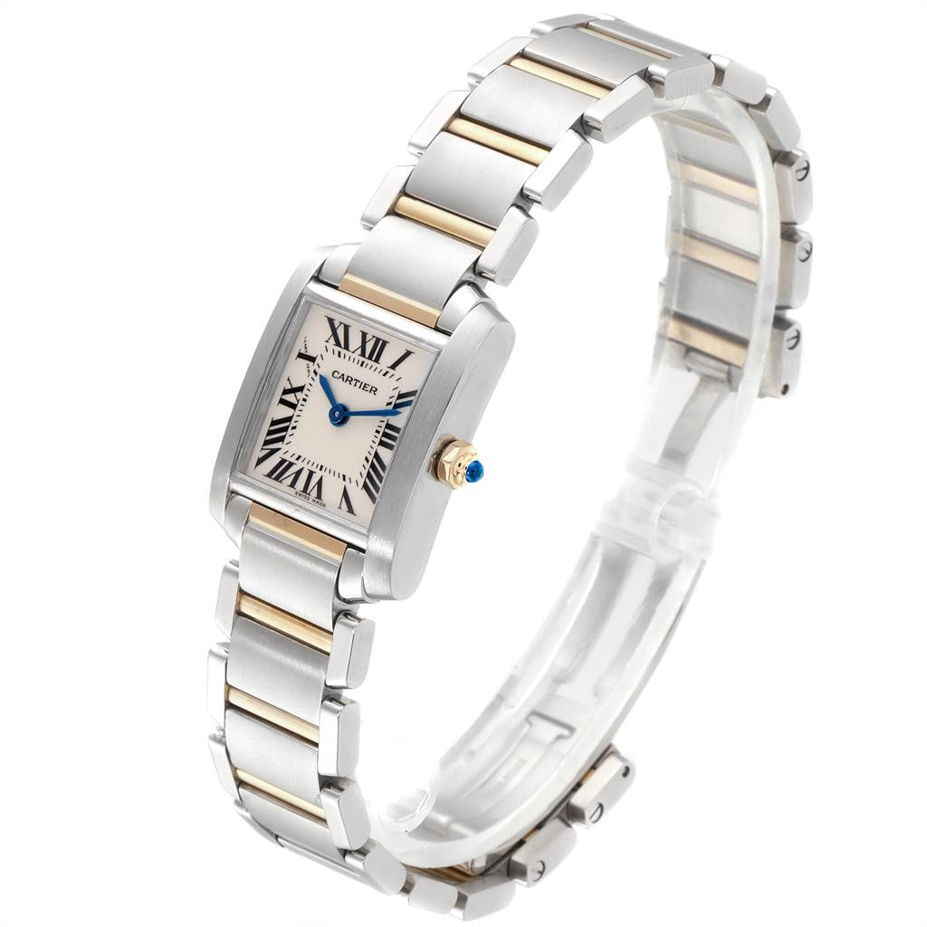 22807 Cartier Tank Francaise Steel Yellow Gold Quartz Ladies Watch W51007Q4 SwissWatchExpo