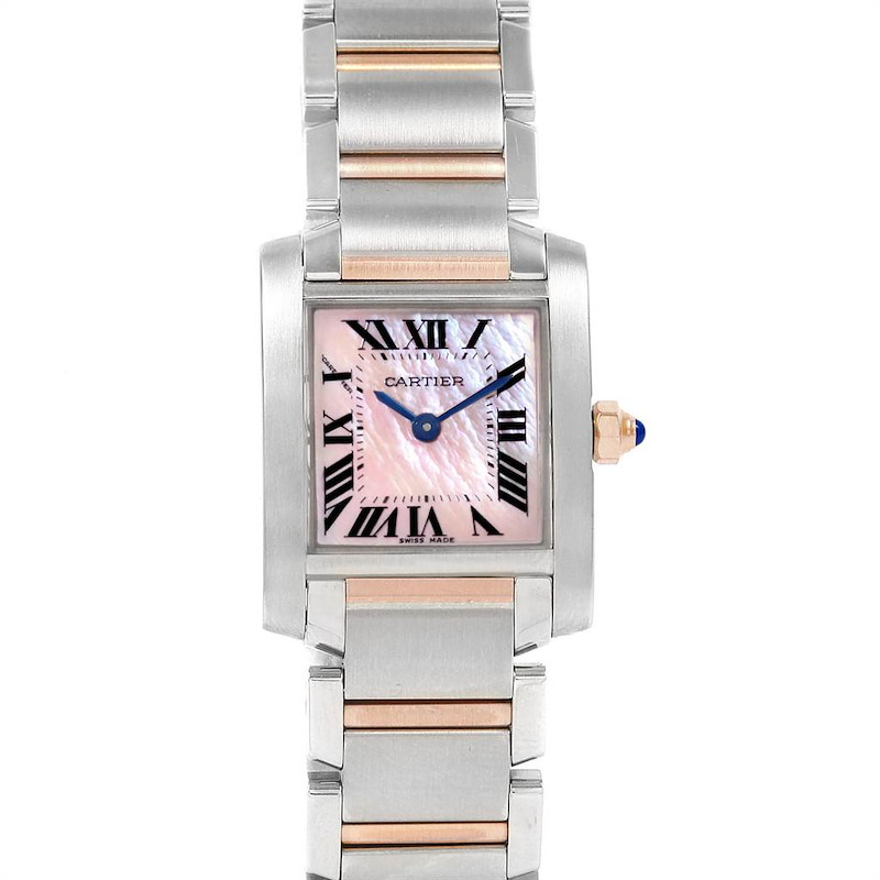 Cartier Tank Francaise Steel Rose Gold Mother of Pearl Watch W51027Q4 SwissWatchExpo