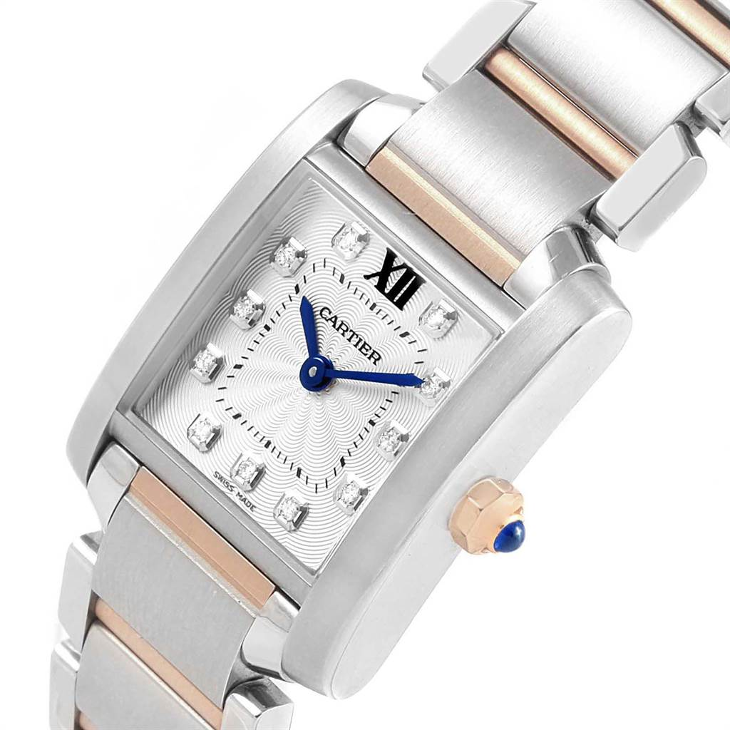 23761 Cartier Tank Francaise Steel Rose Gold Diamond Ladies Watch WE110004 SwissWatchExpo