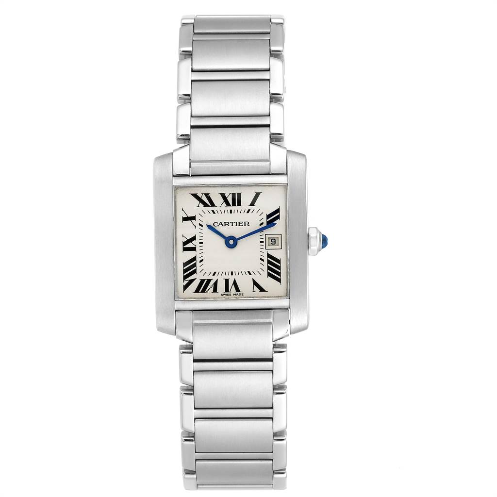 Cartier Tank Francaise Midsize Blue Hands Ladies Watch W51011Q3 SwissWatchExpo