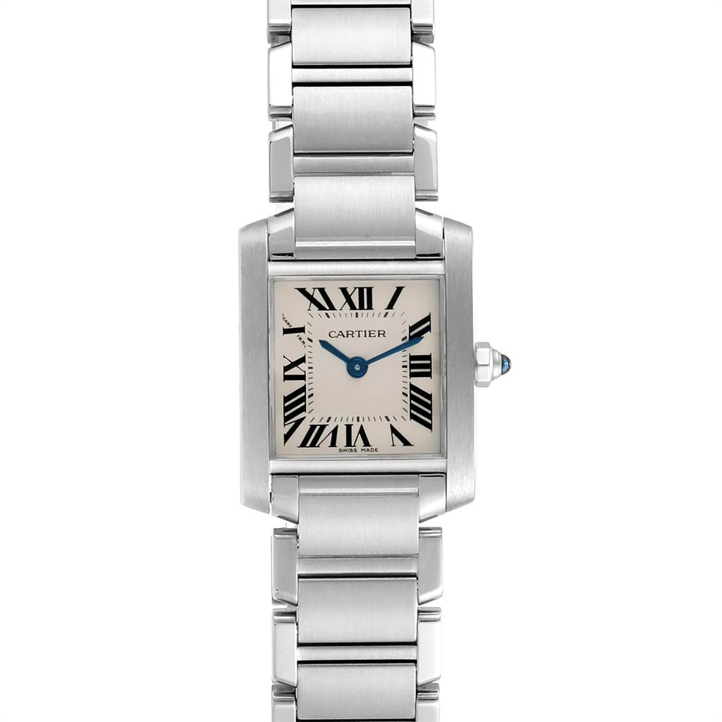23626 Cartier Tank Francaise Silver Dial Blue Hands Ladies Watch W51008Q3 SwissWatchExpo