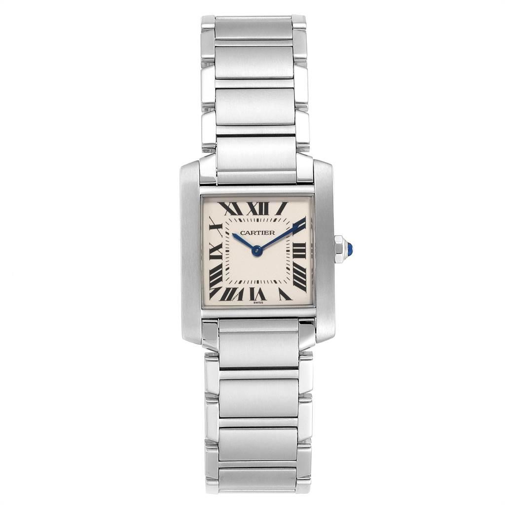 22394 Cartier Tank Francaise Midsize Silver Dial Steel Ladies Watch WSTA0005 SwissWatchExpo